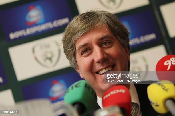 FAI chief executive John Delaney during the press conference at the Hilton Hotel Dublin Ireland