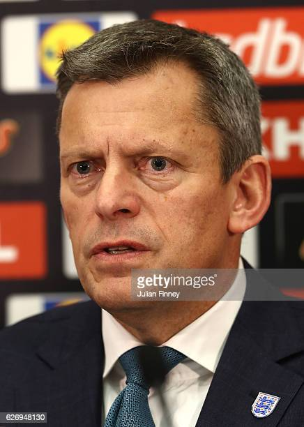 Chief Executive Martin Glenn speaks at a press conference as Gareth Southgate is unveiled as the new England manager at Wembley Stadium on December 1...