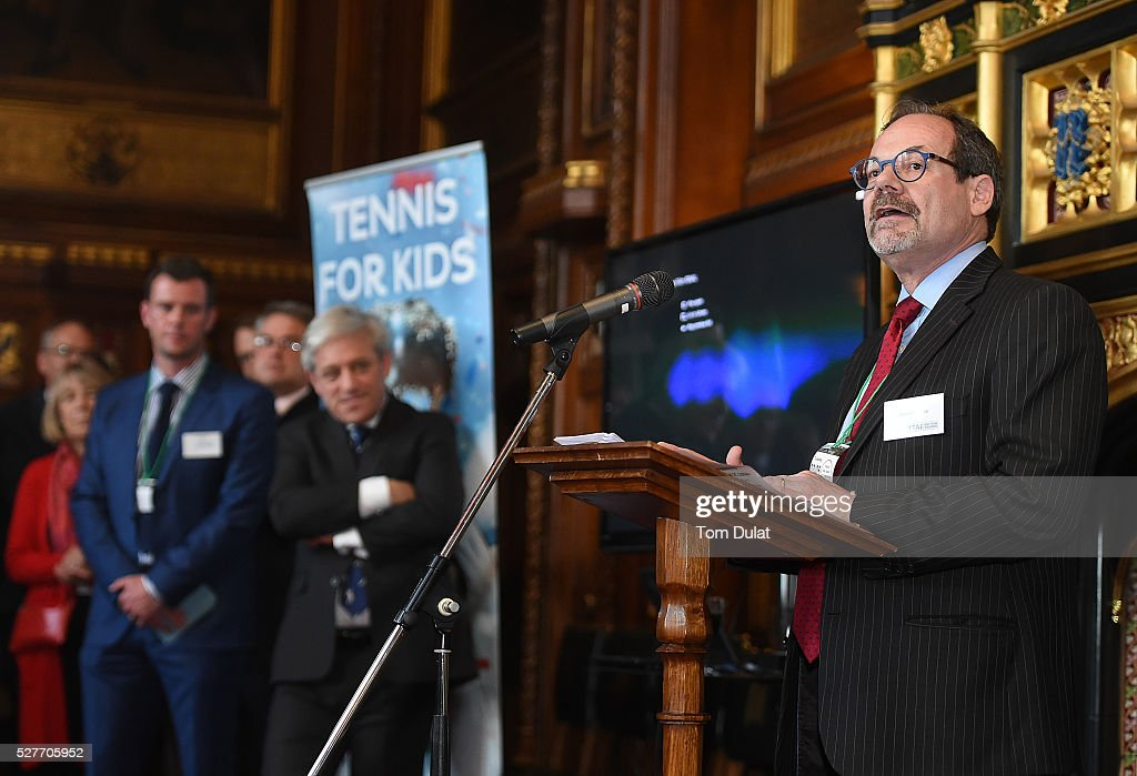 LTA Chief Executive, Michael Downey speaks to guests during the Davis Cup Parliamentary Reception at Houses of Parliament on May 3, 2016 in London, England.