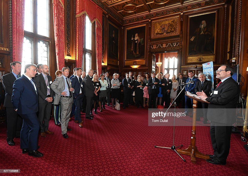 Chief Executive, Michael Downey speaks to guests during the Davis Cup Parliamentary Reception at Houses of Parliament on May 3, 2016 in London, England.