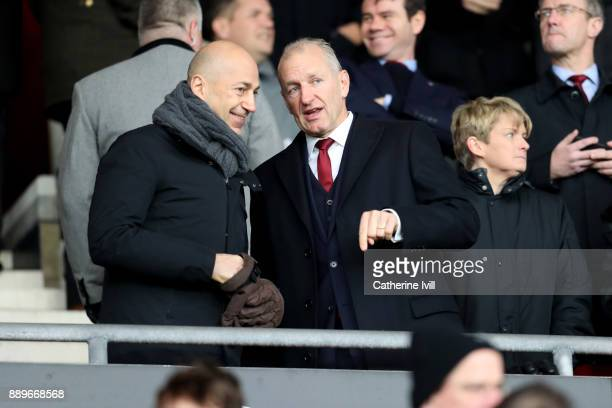 Chief Executive of Arsenal Ivan Gazidis speaks with Chairman of Southampton Ralph Krueger during the Premier League match between Southampton and...