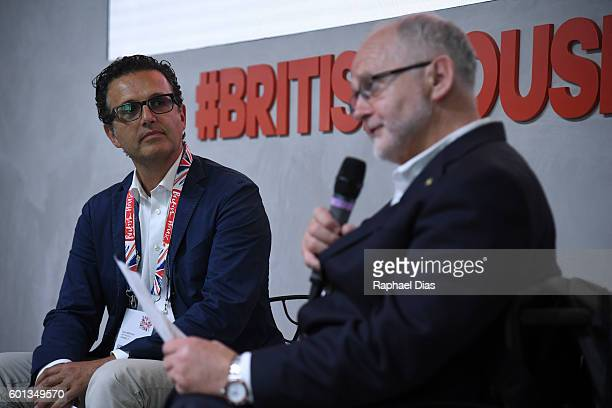 Chief Executive of Channel 4 David Abraham and the President of International Paralympic Committee Sir Philip Craven at the British House in the Rio...