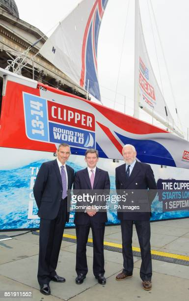 Chief Executive of Clipper Ventures William Ward Sports Minister Hugh Robertson and Sir Robin KnoxJohnston at a launch event for the yacht 'Great...