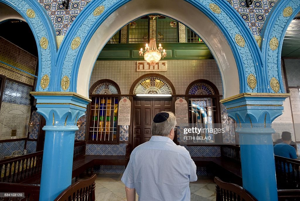 Chief executive of Liberal Judaism in the United Kingdon Rabbi Danny Rich is seen at the Ghriba synagogue in the Tunisian resort island of Djerba during the annual Jewish pilgrimage on May 25, 2016. Pilgrims arrived at Tunisia's Ghriba synagogue, the oldest in Africa, expressing hope that this year would mark a turning point for the ritual despite a rise in Islamist unrest since the 2011 revolution. Djerba is home to one of the last Jewish communities in the Arab world. / AFP / FETHI