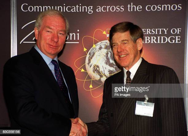 Chief Executive of Marconi Lord Simpson and ViceChancellor of Cambridge University Professor Alec Broers at Marconi House in London where it was...