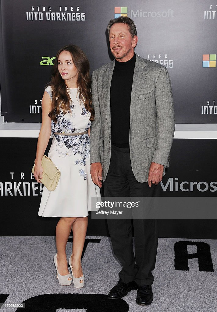 Chief executive of Oracle Corporation <a gi-track='captionPersonalityLinkClicked' href=/galleries/search?phrase=Larry+Ellison&family=editorial&specificpeople=221302 ng-click='$event.stopPropagation()'>Larry Ellison</a> (R) and Nikita Kahn arrive at the Los Angeles premiere of 'Star Trek: Into Darkness' at Dolby Theatre on May 14, 2013 in Hollywood, California.