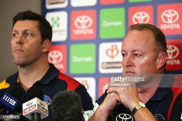 Chief Executive of the Adelaide Crows Andrew Fagan and Chairman of the Adelaide Crows Rob Chapman speaks during a press conference held at AAMI...