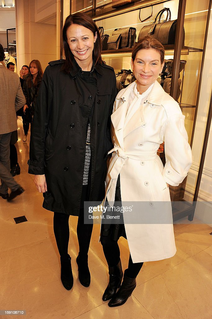 Chief Executive of the British Fashion Council Caroline Rush (L) and founder of Net-A-Porter <a gi-track='captionPersonalityLinkClicked' href=/galleries/search?phrase=Natalie+Massenet&family=editorial&specificpeople=2118990 ng-click='$event.stopPropagation()'>Natalie Massenet</a> attend the Burberry Knightsbridge Menswear store to celebrate London Collections: Men AW13 on January 8, 2013 in London, England.