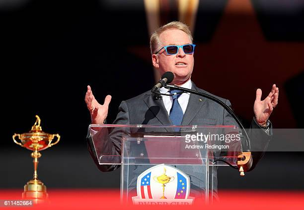 Chief Executive of the European Tour Keith Pelley speaks during the 2016 Ryder Cup Opening Ceremony at Hazeltine National Golf Club on September 29...