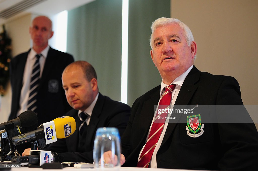 Chief executive of the Football Association of Wales Jonathan Ford and President of the Football Association of Wales, Phil Pritchard give a press conference in reaction to Gary Speed's death at St David's hotel on November 28, 2011 in Cardiff, Wales. Wales Manager Gary Speed, 42, was found dead on November 27, 2011 in Cheshire, England.