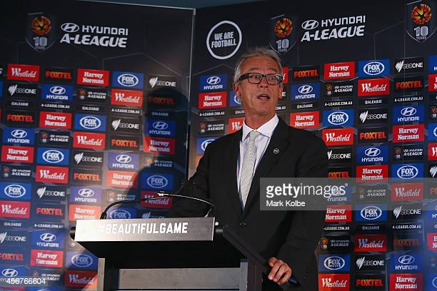 Chief executive of the Football Federation Australia David Gallop speaks during the ALeague 201415 Season launch at Allianz Stadium on October 7 2014...