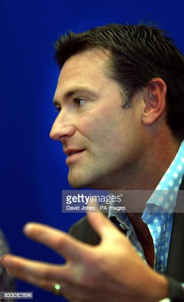 Chief Executive of the Lawn Tennis Association Roger Draper talks to the media during a rain delay in The DFS Classic at Edgbaston Priory Club...