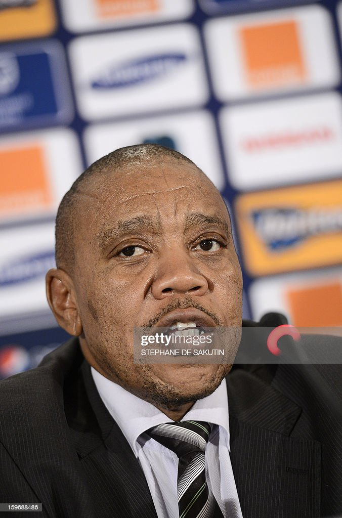 Chief Executive of the Local Organising Committee of the 2013 Africa Cup of Nations (AFCON), Mvuzo Mbebe gives a press conference on January 18, 2013 in Johannesburg on the eve of the start of the 2013 Africa Cup of Nations hosted by South Africa from January 19 to February 10.