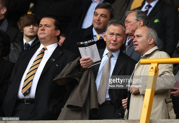 Chief Executive of the Premier League Richard Scudamore and Wolverhampton Wanderers Chief Executive Jez Moxey in the stands