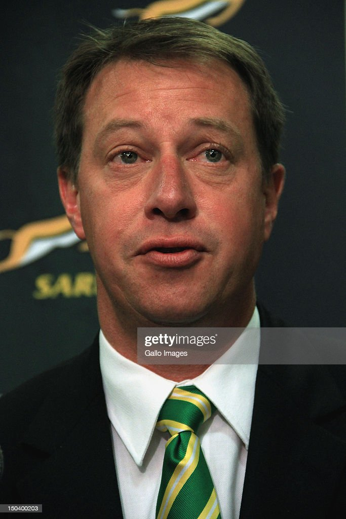 Chief Executive of the SARU Jurie Roux attends a media briefing at Southern Sun Newlands on August 16, 2012 in Cape Town, South Africa. The briefing is held to announce the inclusion of the Southern Kings and the exclusion of the MTN Lions within the Vodacom Super Rugby competition.