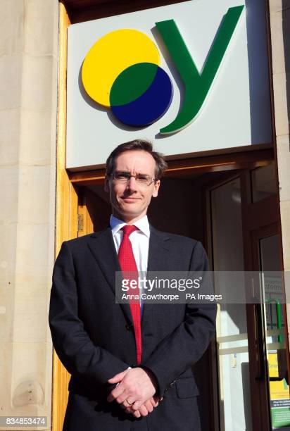 Chief Executive of the Yorkshire Building Society Iain Cornish stands outside the Barnsley branch of the Yorkshire Building Society in Barnsley town...