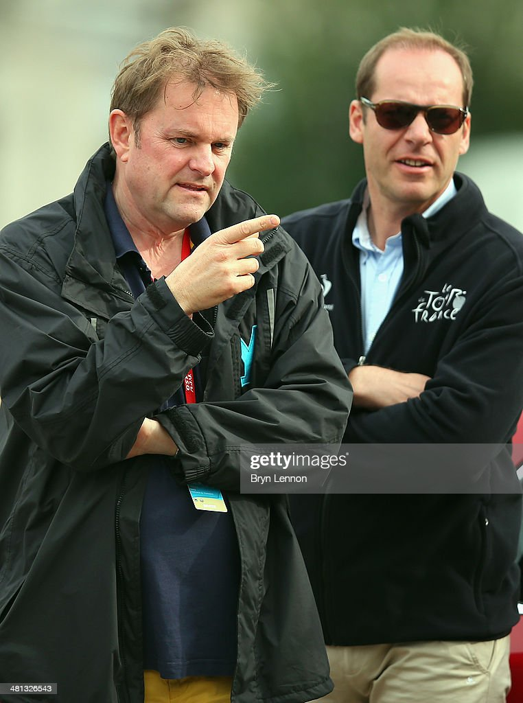 Chief Executive of Welcome to Yorkshire Gary Verity (l) chats to Tour de France race Director <a gi-track='captionPersonalityLinkClicked' href=/galleries/search?phrase=Christian+Prudhomme&family=editorial&specificpeople=546988 ng-click='$event.stopPropagation()'>Christian Prudhomme</a> at the start of stage two of the Criterium International from Porto Vecchio to Porto Vecchio on March 29, 2014 in Porto Vecchio, France.
