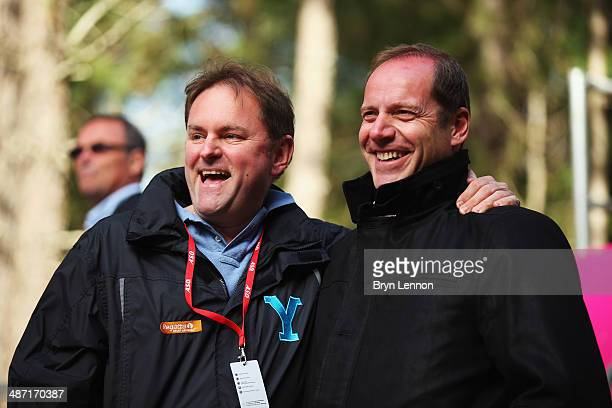 Chief Executive of Welcome to Yorkshire Gary Verity shares a joke with Tour de France race Director Christian Prudhomme at the start of stage two of...