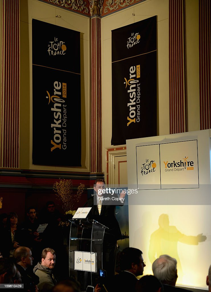Chief Executive of Welcome to Yorkshire Gary Verity speaks during a press conference to announce the Grand Depart of the Tour de France at Leeds Town Hall on January 17, 2013 in Leeds, England.