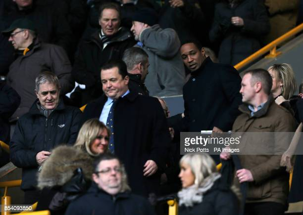 Chief executive of Wolverhampton Wanderers Jez Moxey and Paul Ince in the stands