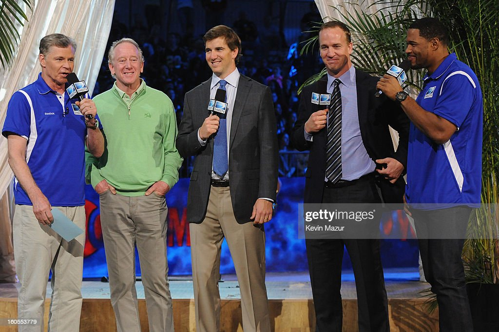 Chief Executive Officer and President of DIRECTV Michael White, Archie Manning, Eli Manning, Peyton Manning and Michael Strahan attend DIRECTV'S 7th annual celebrity Beach Bowl at DTV SuperFan Stadium at Mardi Gras World on February 2, 2013 in New Orleans, Louisiana.