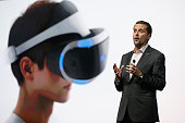 Chief Executive Officer and President of Sony Computer Entertainment Andrew House introduces the PS4 virtual reality 'Project Morpheus' during the...
