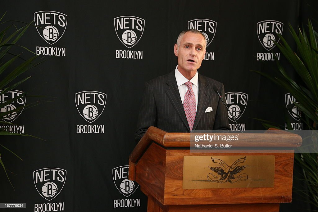 Chief Executive Officer Brett Yormark of the Brooklyn Nets speacks during a team event in celebration of Veterans Day at Ft. Hamilton, Brooklyn on November 11, 2013 in the Brooklyn borough of New York City.