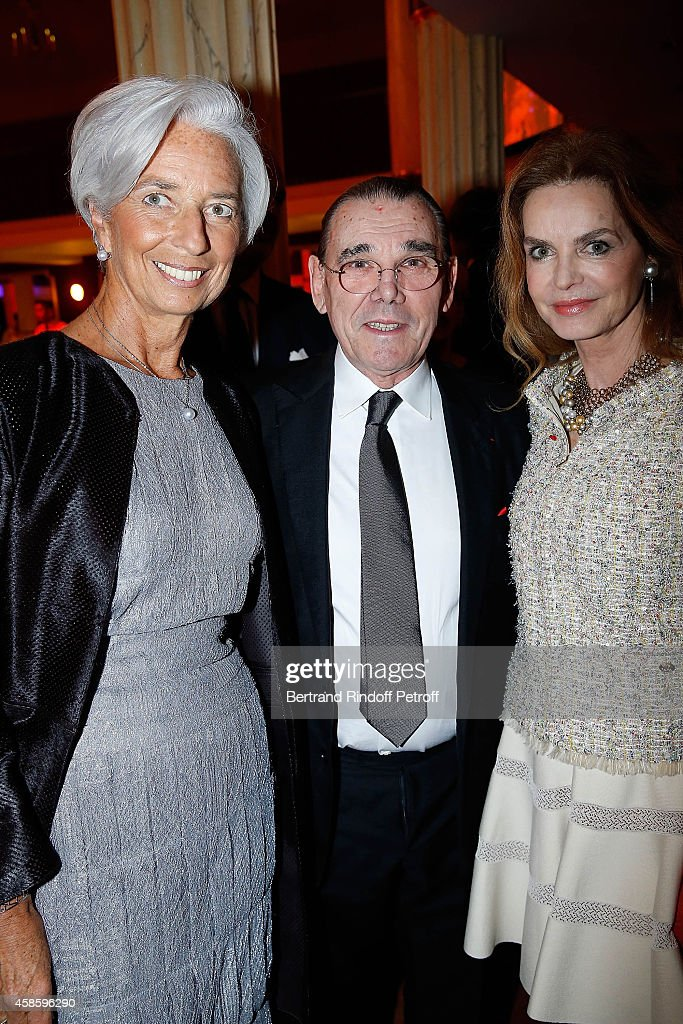 Chief Executive Officer Christine Lagarde, Michel Corbiere President of Forest Hill and his wife actress Cyrielle Clair attend the French-American Foundation Gala Dinner at Salle Wagram on November 7, 2014 in Paris, France.