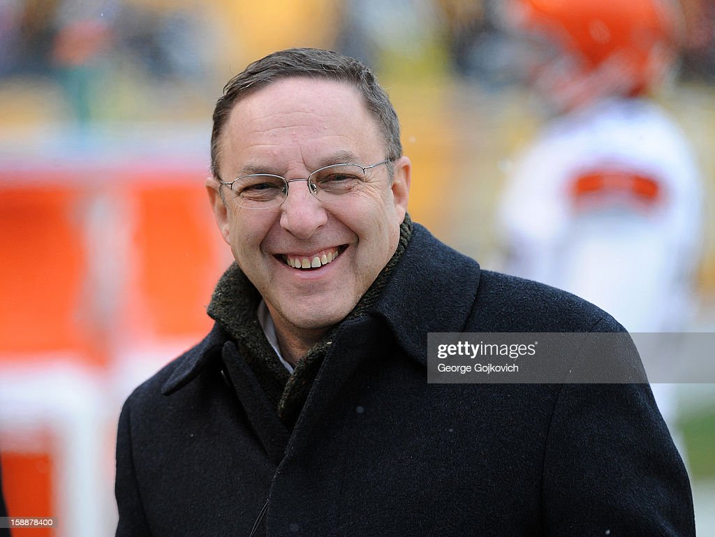 Chief Executive Officer Joe Banner of the Cleveland Browns looks on from the sideline before a game against the Pittsburgh Steelers at Heinz Field on December 30, 2012 in Pittsburgh, Pennsylvania. The Steelers defeated the Browns 24-10.