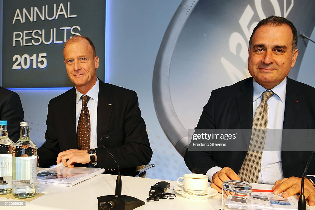 Chief executive officer of Airbus Group, Tom Enders (L) and Marketing Officer of Airbus Group, Marwan Lahoud (R) speak during a press conference to announce the company's annual results on February 24, 2016 in London, United Kingdom. Airbus Group announced its net profits climbed 15 percent last year and predicted deliveries of more than 650 aircraft in 2016.