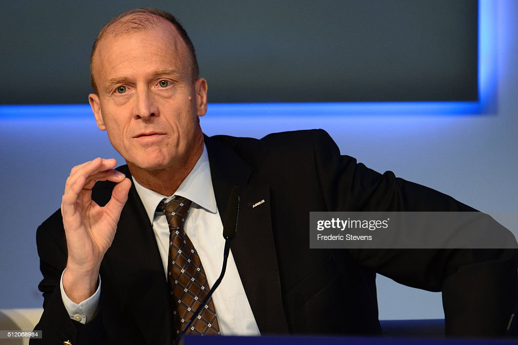 Chief executive officer of Airbus Group, Tom Enders speaks during a press conference to announce the company's annual results on February 24, 2016 in London, United Kingdom. Airbus Group announced its net profits climbed 15 percent last year and predicted deliveries of more than 650 aircraft in 2016.