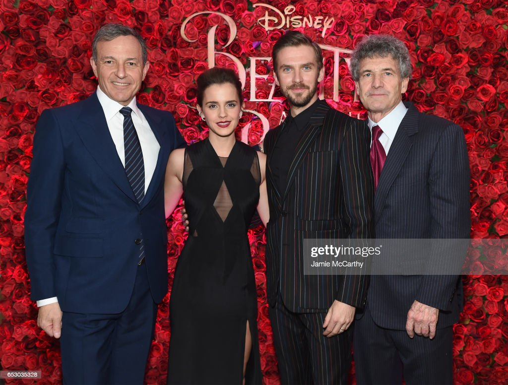 Chief Executive Officer of Disney Bob Iger. Emma Watson, Dan Stevens, and and Chairman of Walt Disney Studios Alan F. Horn pose backstage at the New York special screening of Disney's live-action adaptation 'Beauty and the Beast' at Alice Tully Hall on March 13, 2017 in New York City.