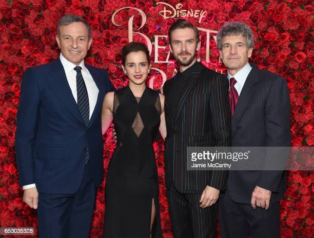 Chief Executive Officer of Disney Bob Iger Emma Watson Dan Stevens and and Chairman of Walt Disney Studios Alan F Horn pose backstage at the New York...