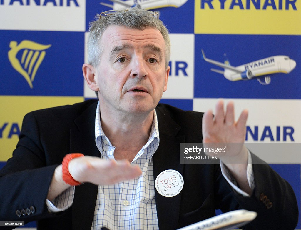 Chief executive officer (CEO) of Irish airline Ryanair Michael O'Leary gestures during a press conference, on January 16, 2013 in Vitrolles, near Marseille's airport, southern France. Low-cost Irish airline Ryanair is to open two new bases this spring in Morocco, its first outside Europe, company chief Michael O'Leary told AFP on Wednesday. AFP PHOTO/GERARD JULIEN