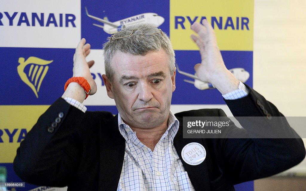 Chief executive officer (CEO) of Irish airline Ryanair Michael O'Leary gestures during a press conference, on January 16, 2013 in Vitrolles, near Marseille's airport, southern France. Low-cost Irish airline Ryanair is to open two new bases this spring in Morocco, its first outside Europe, company chief Michael O'Leary told AFP on Wednesday.