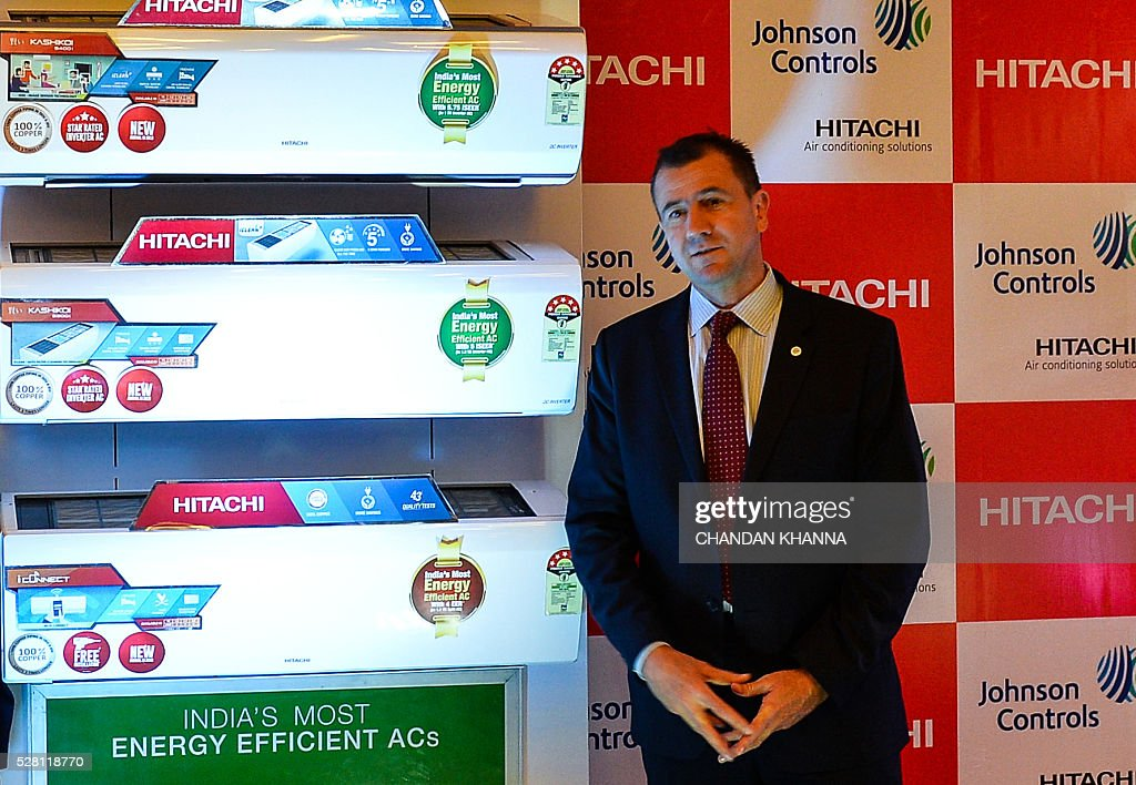 Chief Executive Officer of Johnson Controls-Hitachi Air Conditionong, Franz Cerwinka poses during a media event in New Delhi on May 4, 2016. / AFP / CHANDAN