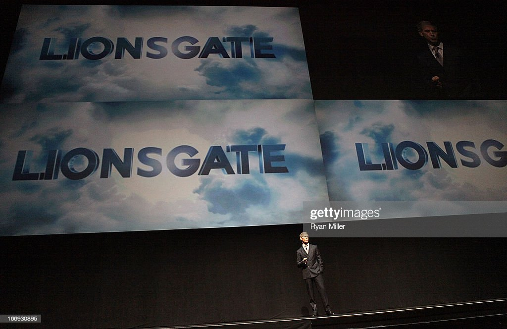 Chief Executive Officer of Lions Gate Entertainment, <a gi-track='captionPersonalityLinkClicked' href=/galleries/search?phrase=Jon+Feltheimer&family=editorial&specificpeople=677969 ng-click='$event.stopPropagation()'>Jon Feltheimer</a> speaks during a Lionsgate Motion Picture Group presentation at the Lionsgate CinemaCon Press Conference Invitational : An Exclusive Product Presentation Highlighting Its 2013 Release Schedule at Caesars Palace during CinemaCon, the official convention of the National Association of Theatre Owners on April 18, 2013 in Las Vegas, Nevada.