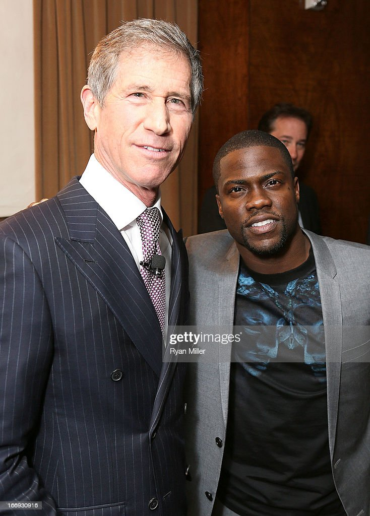 Chief Executive Officer of Lions Gate Entertainment, Jon Feltheimer (L) and actor Kevin Hart attend the Lionsgate CinemaCon Press Conference Invitational : An Exclusive Product Presentation Highlighting Its 2013 Release Schedule at Caesars Palace during CinemaCon, the official convention of the National Association of Theatre Owners on April 18, 2013 in Las Vegas, Nevada.