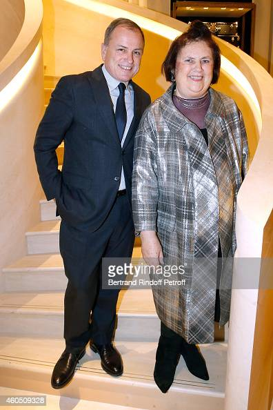 Chief Executive Officer of Louis Vuitton Michael Burke and Journalist Suzy Menkes attend the Louis Vuitton Montaigne Store ReOpening party at Louis...