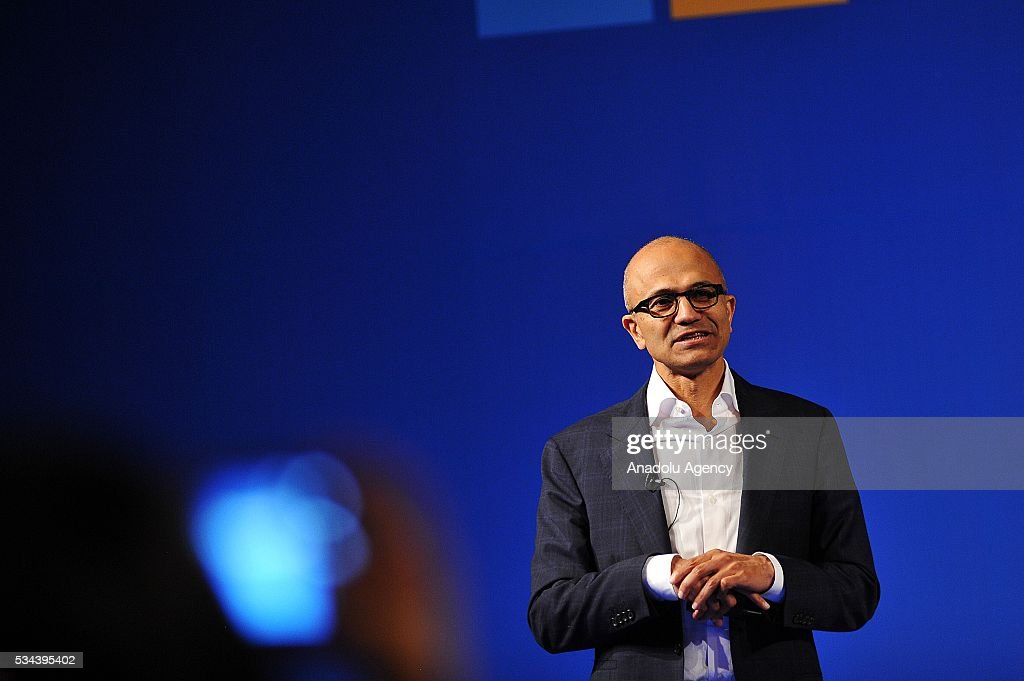 Chief Executive Officer of Microsoft Corp. Satya Nadella talks to audience during the Microsoft Developer Festival in Jakarta, Indonesia on May 26, 2016.