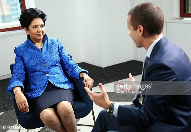 Chief Executive Officer of PepsiCo Indra Nooyi speaks with LinkedIn Executive Editor Dan Roth at LinkedIn on October 14 2016 in New York City