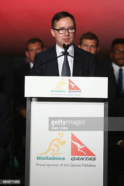 Chief Executive Officer of Qantas Airways Alan Joyce speaks during the Australian Wallabies Rugby World Cup squad announcement at Hangar 96 Qantas...