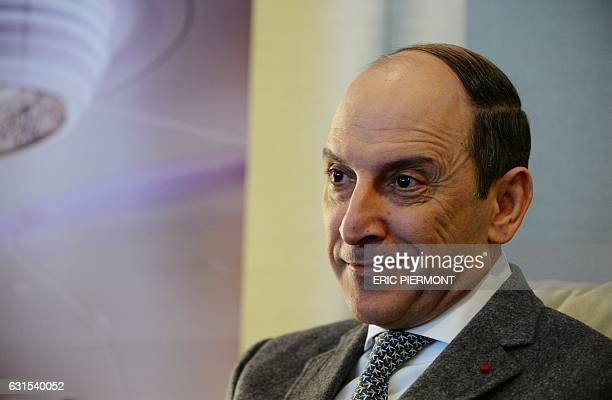 Chief Executive Officer of Qatar Airways Akbar Al Baker talks during a press conference at Paris Roissy airport on January 12 2017 prior to the...