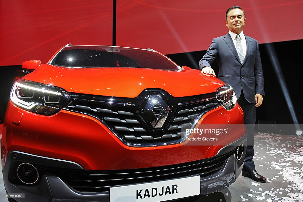 Chief Executive Officer of Renault SA <a gi-track='captionPersonalityLinkClicked' href=/galleries/search?phrase=Carlos+Ghosn&family=editorial&specificpeople=215025 ng-click='$event.stopPropagation()'>Carlos Ghosn</a> presents their new car 'Kadjar' at La Cite du Cinema on February 2, 2015 in Saint-Denis, France. The Kadjar will be the first Renault vehicle to be manufactured in China at their factory in Wuhan.