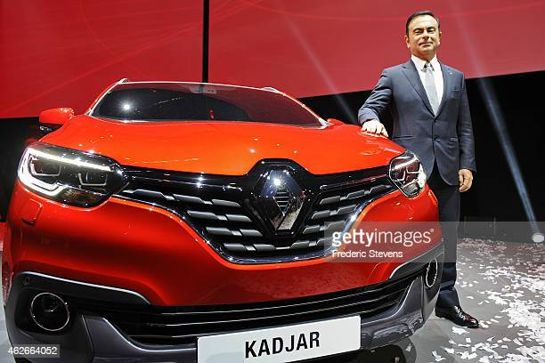 Chief Executive Officer of Renault SA Carlos Ghosn presents their new car 'Kadjar' at La Cite du Cinema on February 2 2015 in SaintDenis France The...