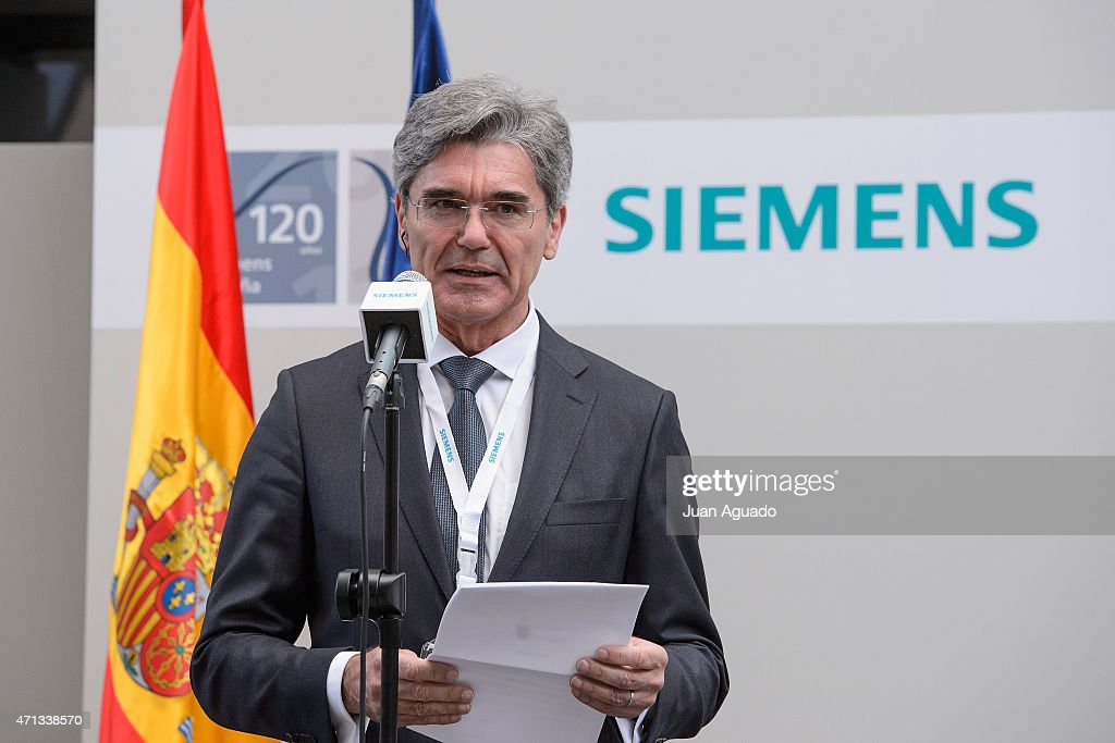 Chief executive officer of Siemens AG <a gi-track='captionPersonalityLinkClicked' href=/galleries/search?phrase=Joe+Kaeser&family=editorial&specificpeople=558326 ng-click='$event.stopPropagation()'>Joe Kaeser</a> visits Siemens Spain Offices on April 27, 2015 in Madrid, Spain.