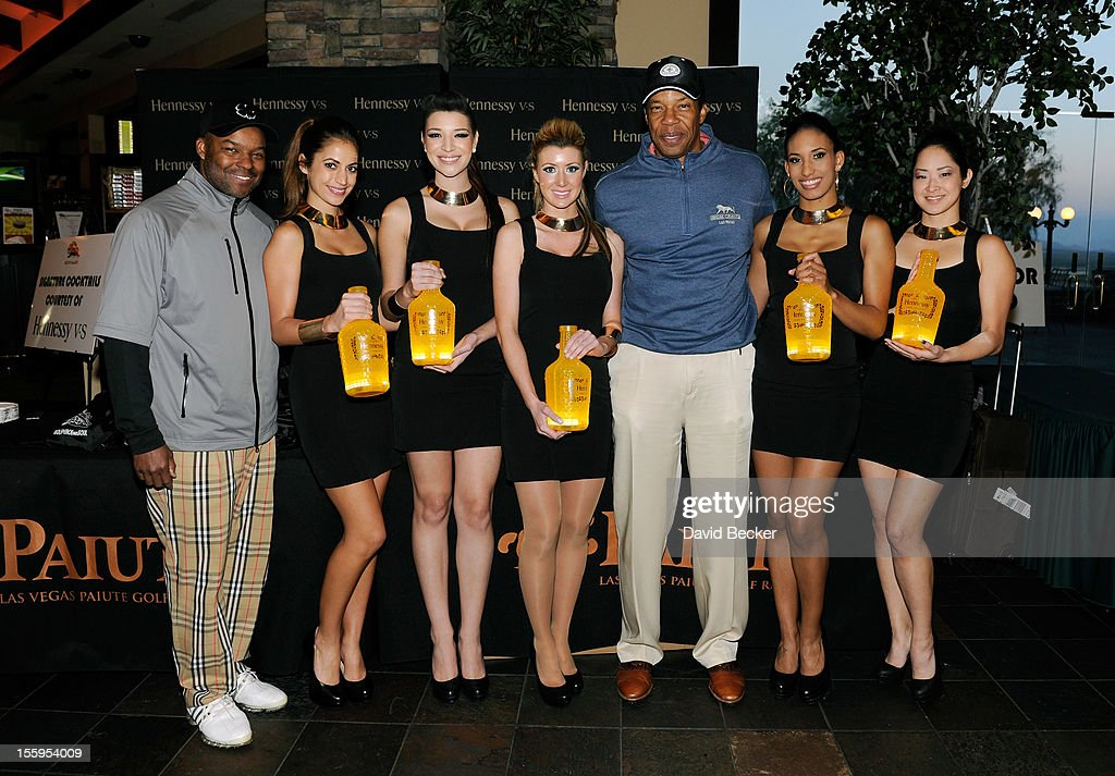 Chief Executive Officer of Soul Train Holdings Kenard Gibbs (L) and producer Tony Cornelius (5th L) attend the first annual Soul Train Celebrity Golf Invitational presented by Hennessy at the Las Vegas Paiute Golf Resort on November 9, 2012 in Las Vegas, Nevada.