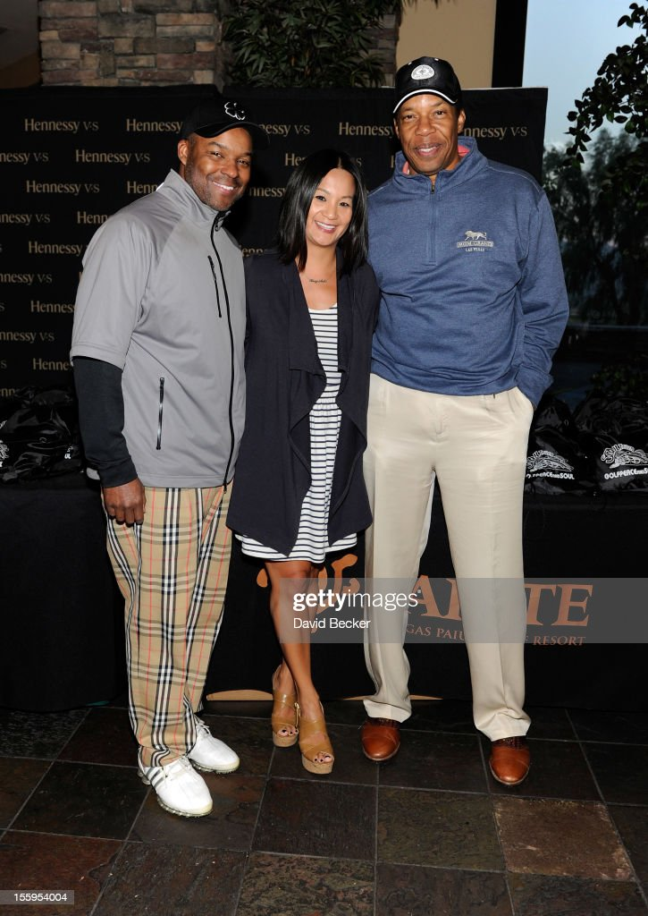 Chief Executive Officer of Soul Train Holdings Kenard Gibbs, Hennessy's west coast marketing manager Thuy-Anh Nguyen and producer Tony Cornelius attend the first annual Soul Train Celebrity Golf Invitational presented by Hennessy at the Las Vegas Paiute Golf Resort on November 9, 2012 in Las Vegas, Nevada.