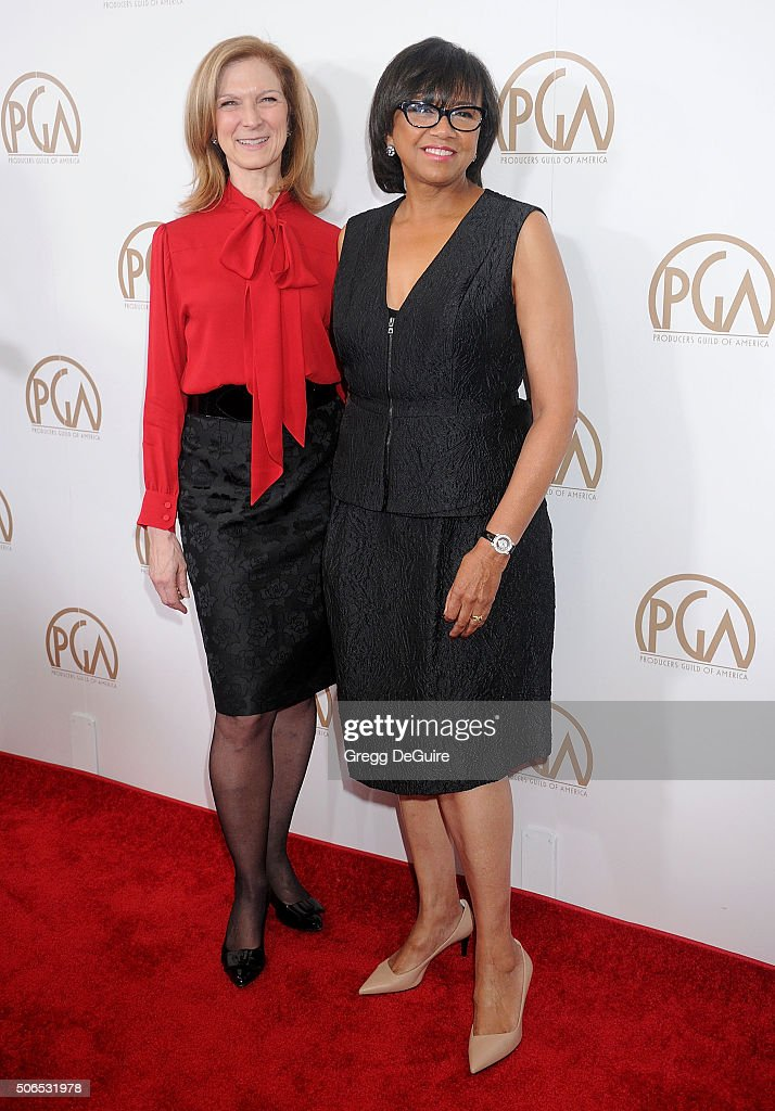 Chief Executive Officer of the Academy of Motion Picture Arts and Sciences Dawn Hudson and Academy President Cheryl Boone Isaacs arrive at the 27th Annual Producers Guild Awards at the Hyatt Regency Century Plaza on January 23, 2016 in Century City, California.