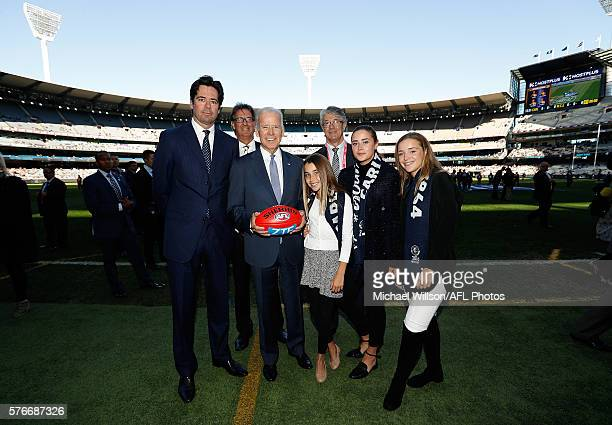 Chief Executive Officer of the AFL Gillon McLachlan President of the MCC Stephen Smith and Chairman of the AFL Mike Fitzpatrick pose for a photograph...